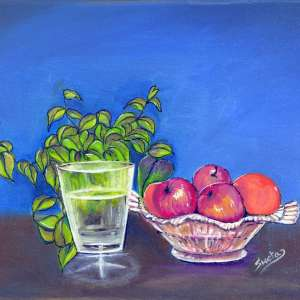Crystal-fruit-bowl-and-glass
